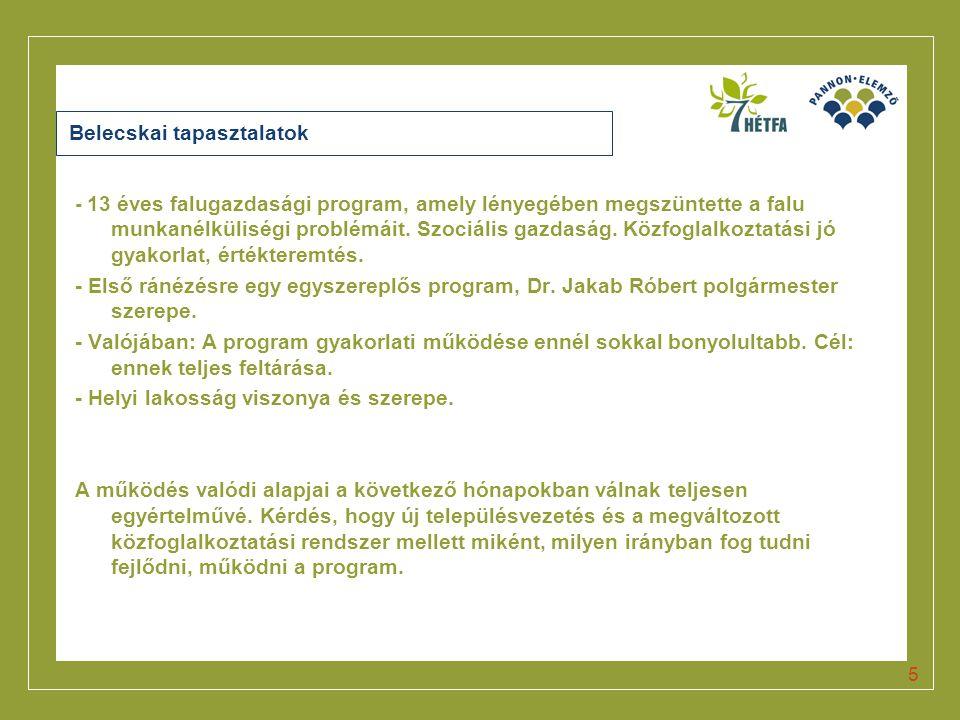 Click to edit Master title style 5 Belecskai tapasztalatok - 13 éves falugazdasági program, amely lényegében megszüntette a falu munkanélküliségi prob
