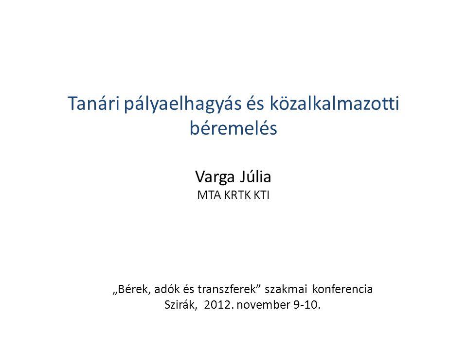"""Tanári pályaelhagyás és közalkalmazotti béremelés Varga Júlia MTA KRTK KTI """"Bérek, adók és transzferek"""" szakmai konferencia Szirák, 2012. november 9-1"""