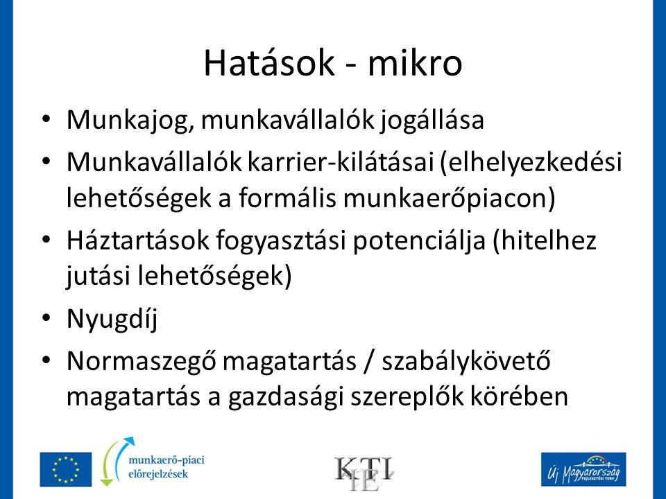 Hatások - mikro Munkajog, munkavállalók jogállása Munkavállalók karrier-kilátásai (elhelyezkedési lehetőségek a formális munkaerőpiacon) Háztartások f