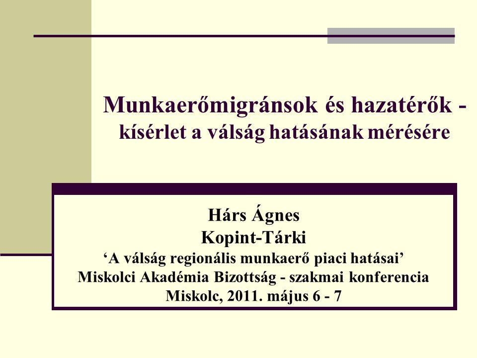 Munkaerőmigránsok és hazatérők - kísérlet a válság hatásának mérésére Hárs Ágnes Kopint-Tárki 'A válság regionális munkaerő piaci hatásai' Miskolci Ak