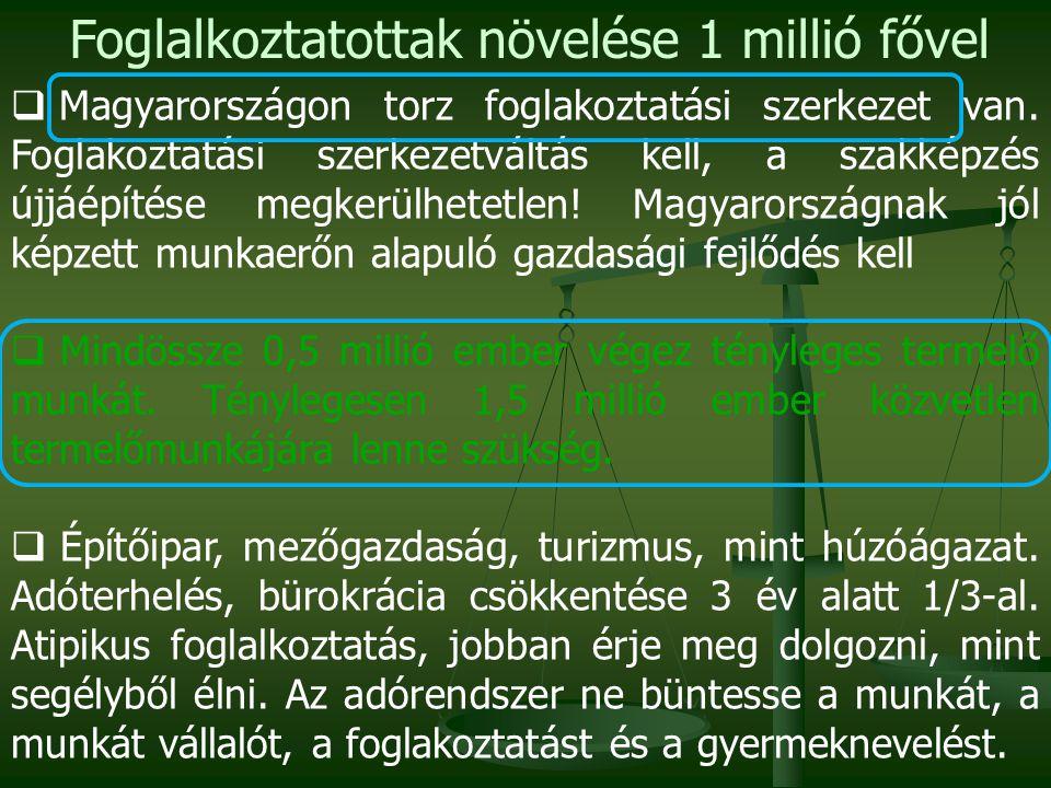  Magyarországon torz foglakoztatási szerkezet van. Foglakoztatási szerkezetváltás kell, a szakképzés újjáépítése megkerülhetetlen! Magyarországnak jó