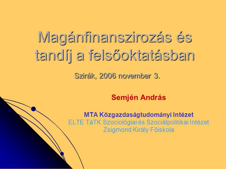 Magánfinanszirozás és tandíj a felsőoktatásban Szirák, 2006 november 3. Semjén András MTA Közgazdaságtudományi Intézet ELTE TáTK Szociológiai és Szoci
