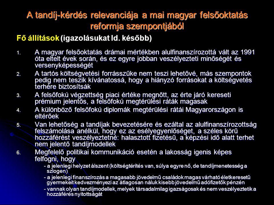 A tandíj-kérdés relevanciája a mai magyar felsőoktatás reformja szempontjából Fő állítások (igazolásukat ld. később) 1. A magyar felsőoktatás drámai m