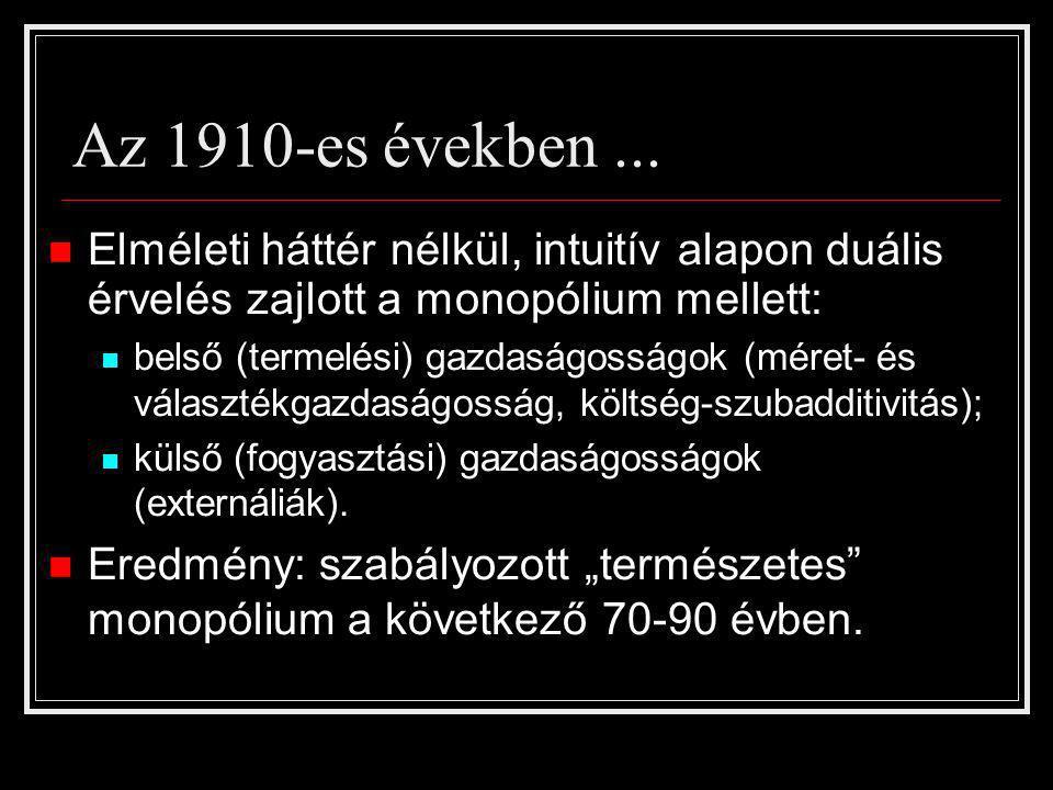 Az 1910-es években... Elméleti háttér nélkül, intuitív alapon duális érvelés zajlott a monopólium mellett: belső (termelési) gazdaságosságok (méret- é