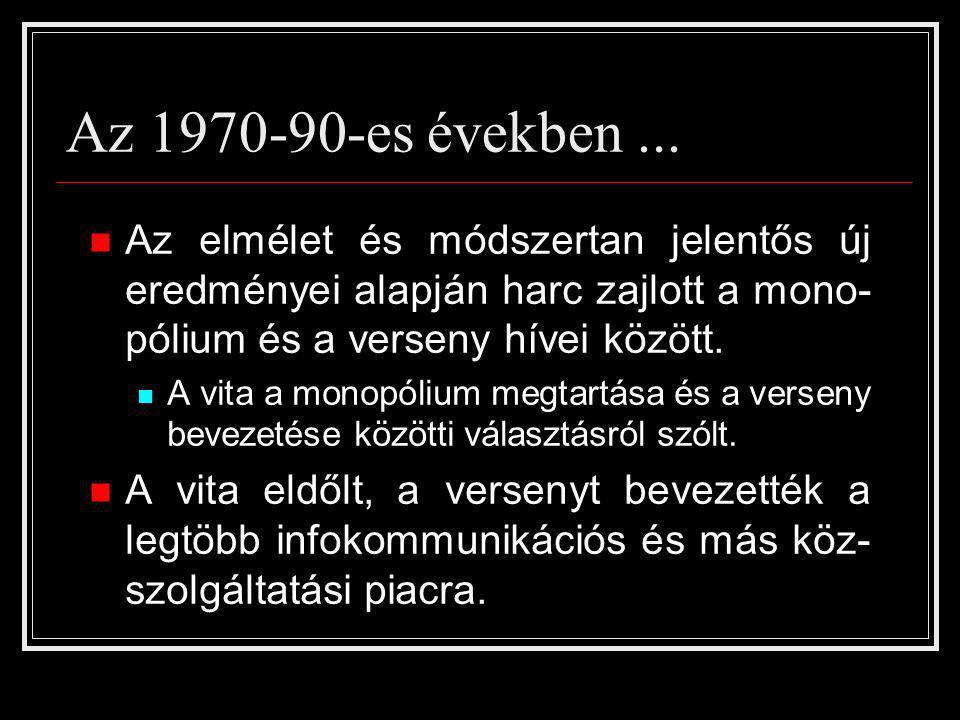 Az 1970-90-es években... Az elmélet és módszertan jelentős új eredményei alapján harc zajlott a mono- pólium és a verseny hívei között. A vita a monop