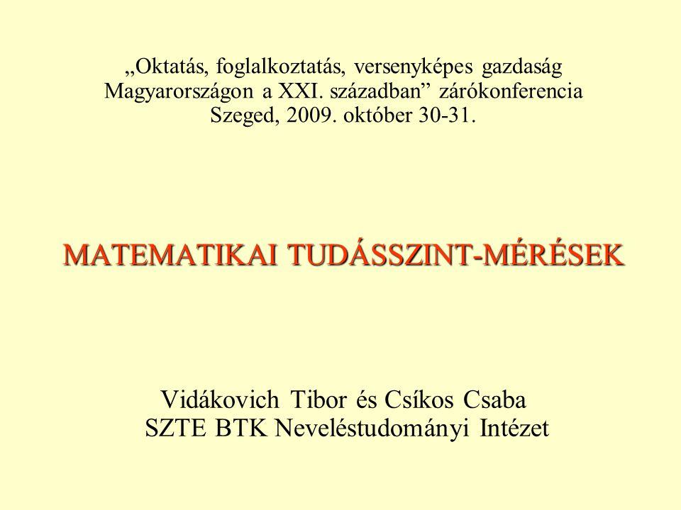 """MATEMATIKAI TUDÁSSZINT-MÉRÉSEK Vidákovich Tibor és Csíkos Csaba SZTE BTK Neveléstudományi Intézet """"Oktatás, foglalkoztatás, versenyképes gazdaság Magy"""
