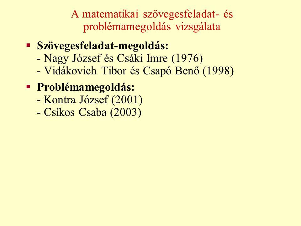 A matematikai szövegesfeladat- és problémamegoldás vizsgálata  Szövegesfeladat-megoldás: - Nagy József és Csáki Imre (1976) - Vidákovich Tibor és Csa