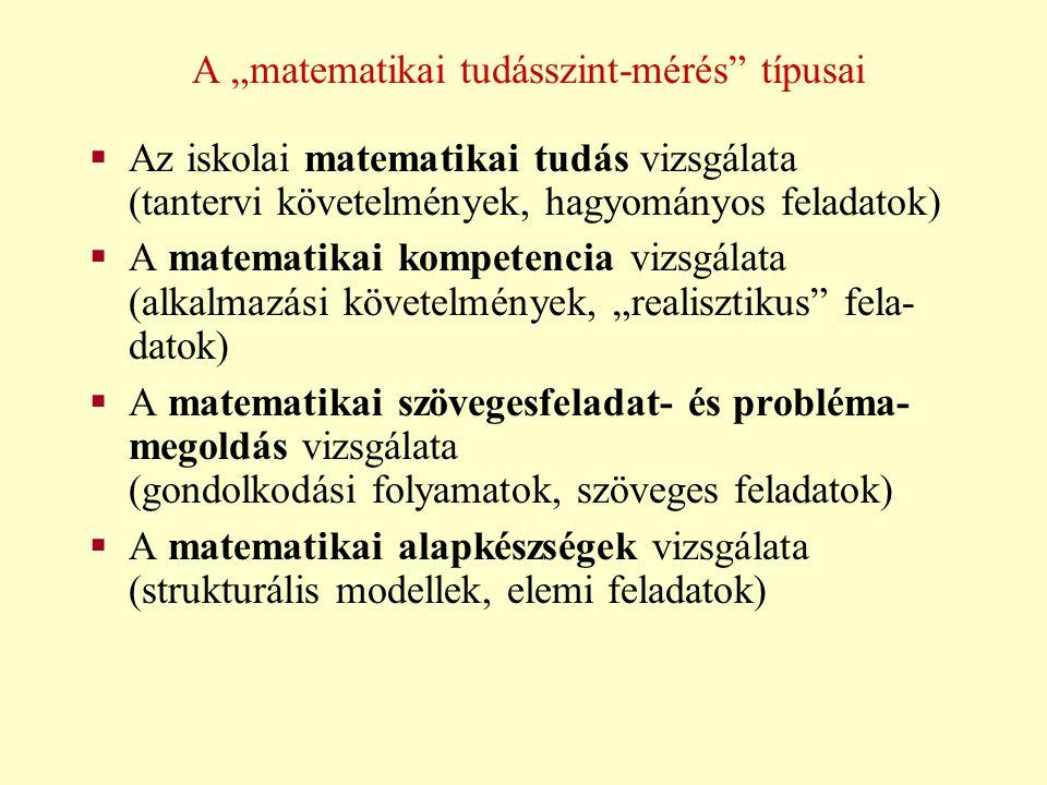 Az iskolai matematikai tudás vizsgálata  Nemzetközi vizsgálatok: - IEA FIMS (1963-1967) - IEA SIMS (1979-1983) - IEA TIMSS (1995-től)  Hazai vizsgálatok: - Kiss Árpád (1960-1961) - TOF-80 (1980) - MONITOR (1986-tól) - diagnosztikus felmérések (1989-től) - megyei felmérések
