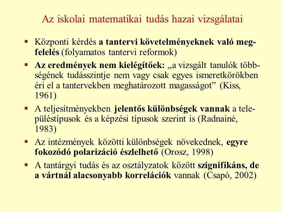 A problémamegoldás vizsgálatai  A szövegesfeladat-megoldás egészének és feladat- megoldó stratégiáinak értékelése realisztikus fel- adatokkal (Csíkos, 2003)  A szövegben szereplő fogalmak és a fogalmak kö- zötti viszonyok megfelelő mentális reprezentá- ciója szükséges (Kontra, 2001)  Az eredményes problémamegoldók kognitív, af- fektív és családi-kulturális jellemzőinek vizsgálata