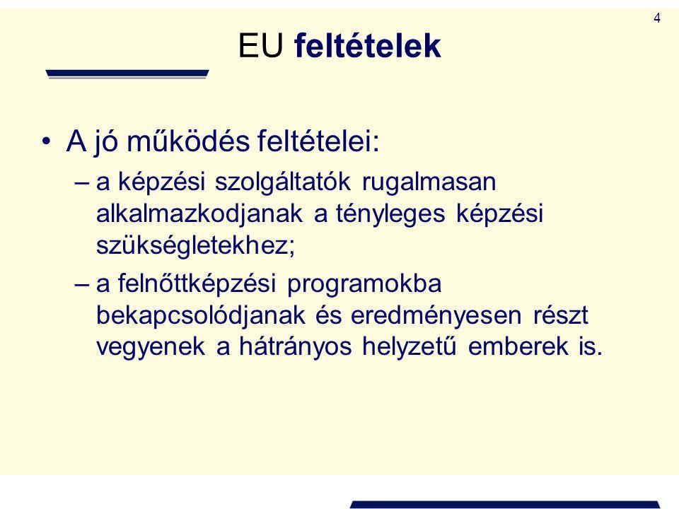 5 A felnőttképzés finanszírozási forrásai Magyarországon, 2008 (%) Munkáltatók összesen38,1 A Munkaerőpiaci Alapból a munkaügyi központok által támogatottak13,2 Támogatások egyéb szervezettől (kivéve EU forrás)0,7 EU és hazai társ-finanszírozással támogatottak15,9 Egyéb nemzetközi és EU forrásból támogatottak2,7 A képzésbe beiratkozott (természetes) személy29,4 Összesen100,0