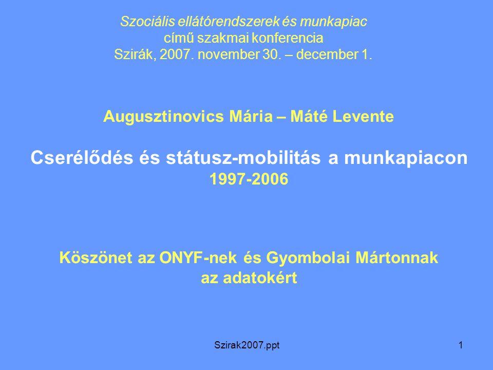 Szirak2007.ppt1 Augusztinovics Mária – Máté Levente Cserélődés és státusz-mobilitás a munkapiacon 1997-2006 Köszönet az ONYF-nek és Gyombolai Mártonna