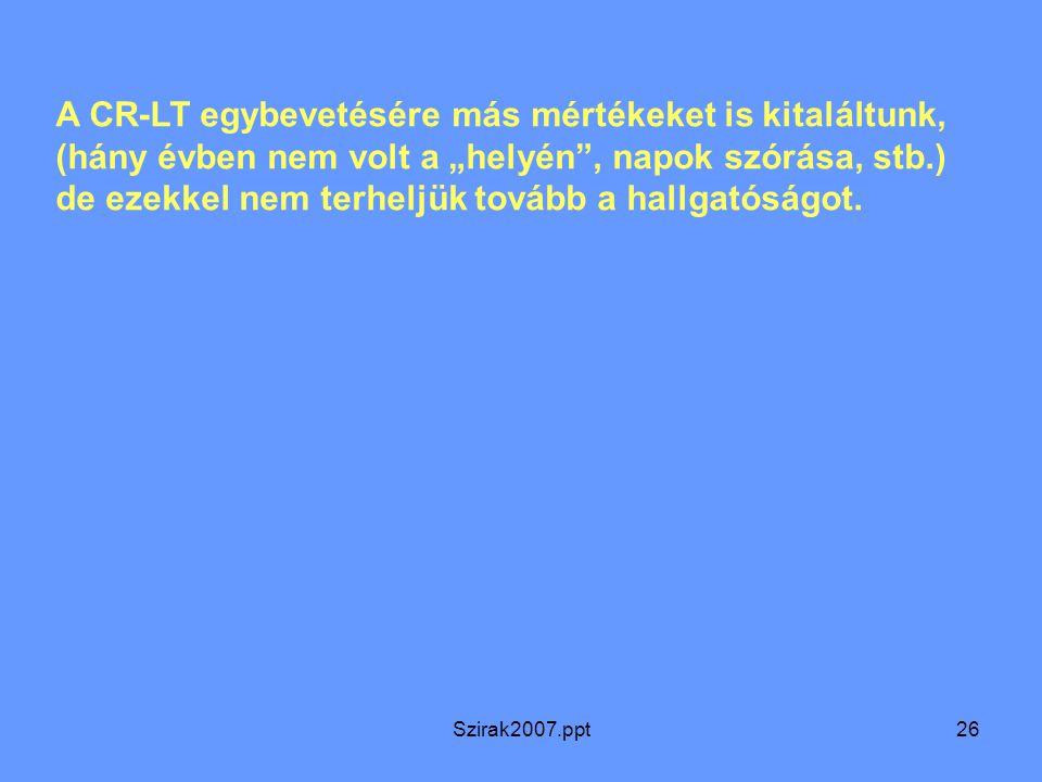 """Szirak2007.ppt26 A CR-LT egybevetésére más mértékeket is kitaláltunk, (hány évben nem volt a """"helyén"""", napok szórása, stb.) de ezekkel nem terheljük t"""