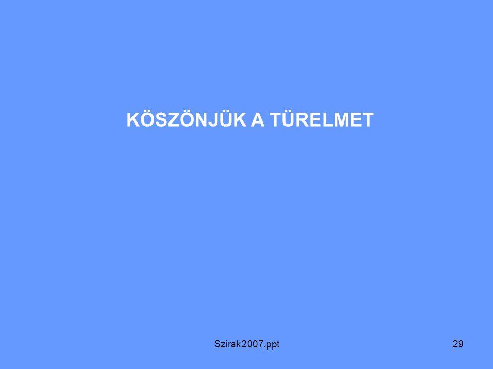 Szirak2007.ppt29 KÖSZÖNJÜK A TÜRELMET