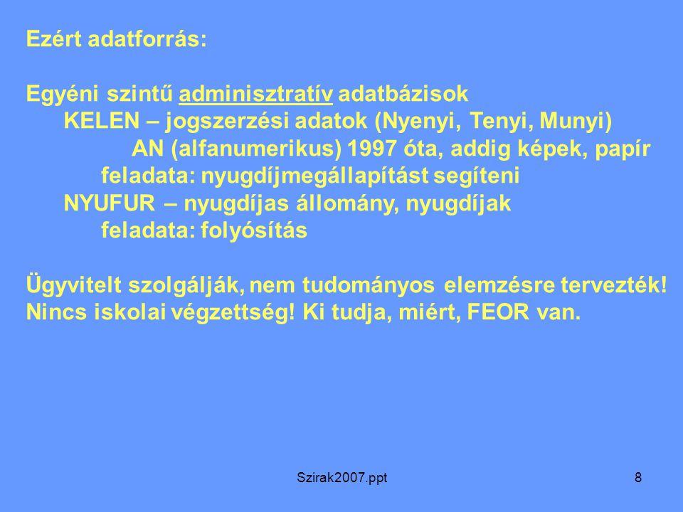 Szirak2007.ppt8 Ezért adatforrás: Egyéni szintű adminisztratív adatbázisok KELEN – jogszerzési adatok (Nyenyi, Tenyi, Munyi) AN (alfanumerikus) 1997 ó