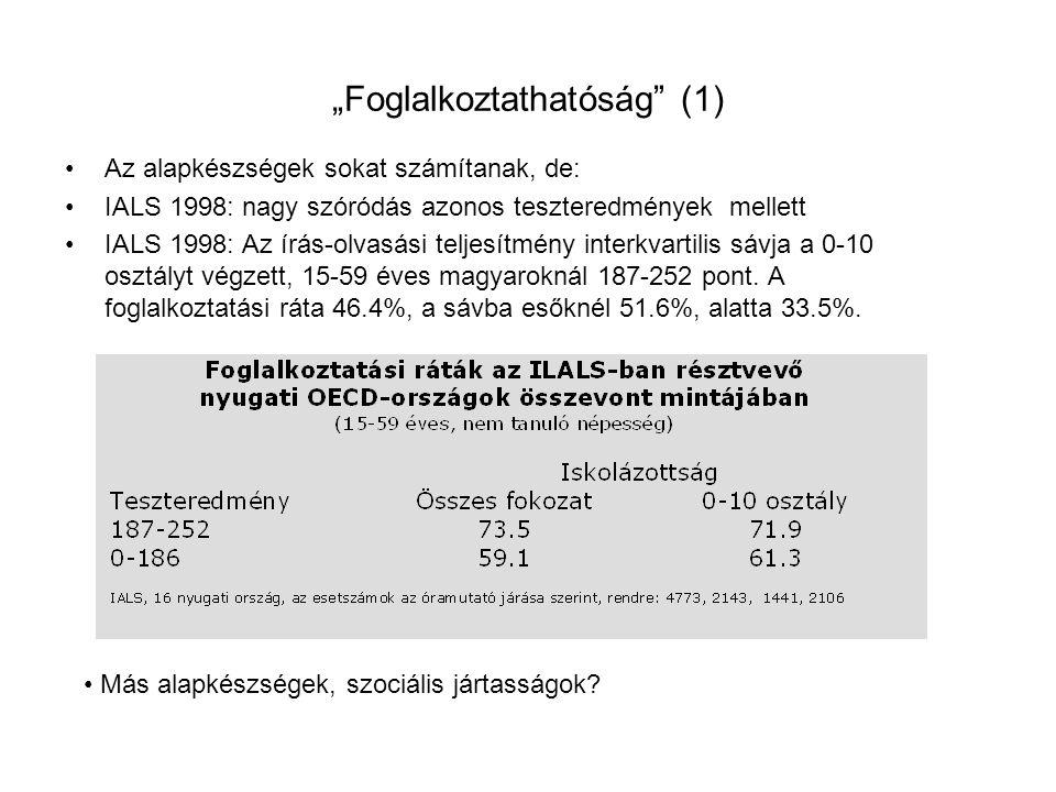 """""""Foglalkoztathatóság"""" (1) Az alapkészségek sokat számítanak, de: IALS 1998: nagy szóródás azonos teszteredmények mellett IALS 1998: Az írás-olvasási t"""