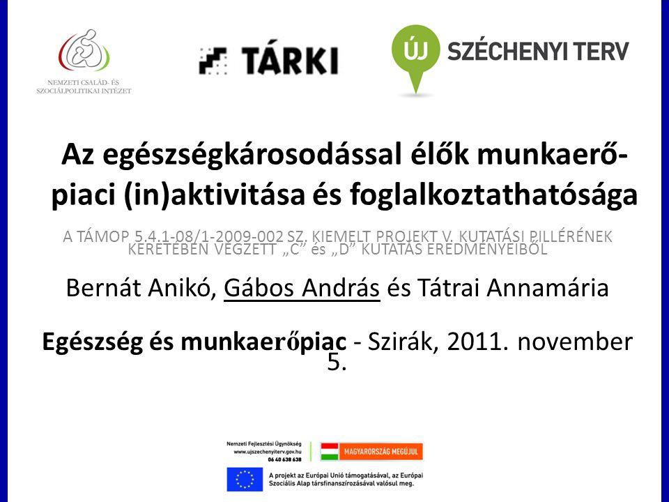 Az egészségkárosodással élők munkaerő- piaci (in)aktivitása és foglalkoztathatósága A TÁMOP 5.4.1-08/1-2009-002 SZ. KIEMELT PROJEKT V. KUTATÁSI PILLÉR