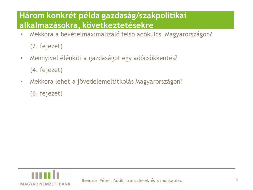 Mekkora a bevételmaximalizáló felső adókulcs Magyarországon? (2. fejezet) Mennyivel élénkíti a gazdaságot egy adócsökkentés? (4. fejezet) Mekkora lehe