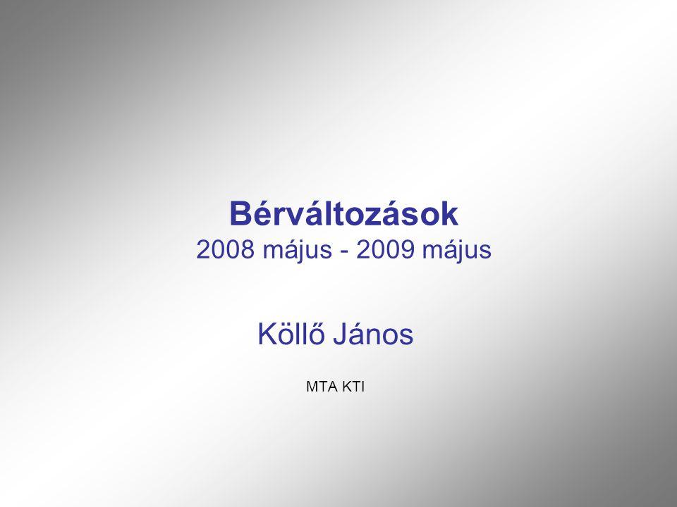 Bérváltozások 2008 május - 2009 május Köllő János MTA KTI