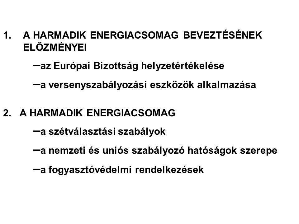 1.A HARMADIK ENERGIACSOMAG BEVEZTÉSÉNEK ELŐZMÉNYEI – az Európai Bizottság helyzetértékelése – a versenyszabályozási eszközök alkalmazása 2. A HARMADIK