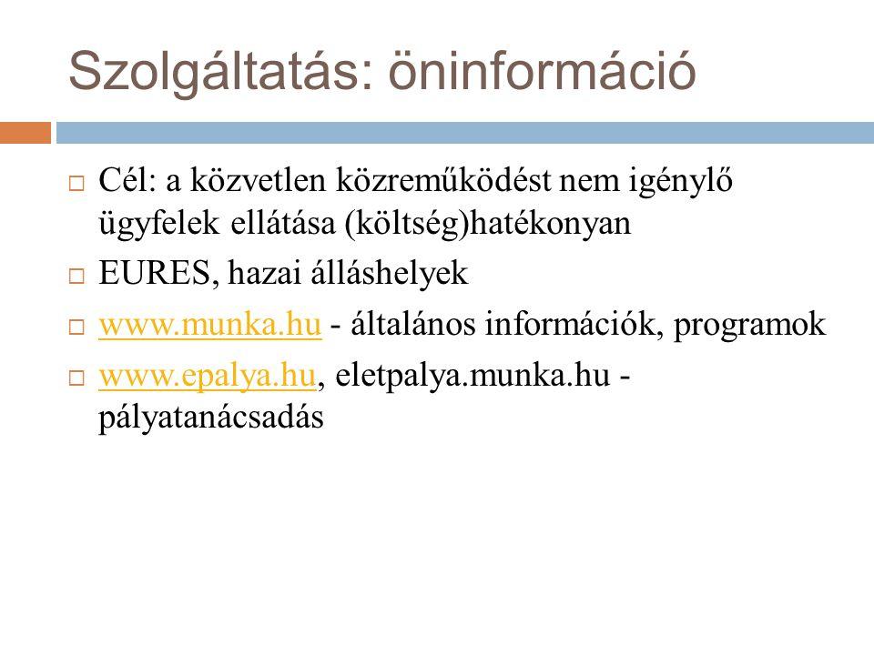Szolgáltatás: öninformáció  Cél: a közvetlen közreműködést nem igénylő ügyfelek ellátása (költség)hatékonyan  EURES, hazai álláshelyek  www.munka.hu - általános információk, programok www.munka.hu  www.epalya.hu, eletpalya.munka.hu - pályatanácsadás www.epalya.hu