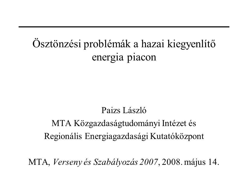 Ösztönzési problémák a hazai kiegyenlítő energia piacon Paizs László MTA Közgazdaságtudományi Intézet és Regionális Energiagazdasági Kutatóközpont MTA