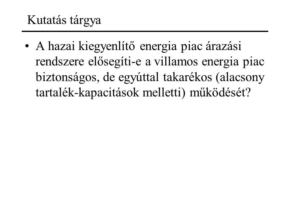 Kutatás tárgya A hazai kiegyenlítő energia piac árazási rendszere elősegíti-e a villamos energia piac biztonságos, de egyúttal takarékos (alacsony tar