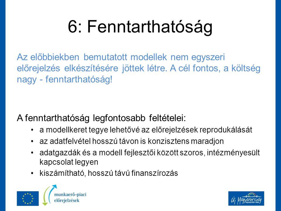 6: Fenntarthatóság Az előbbiekben bemutatott modellek nem egyszeri előrejelzés elkészítésére jöttek létre.