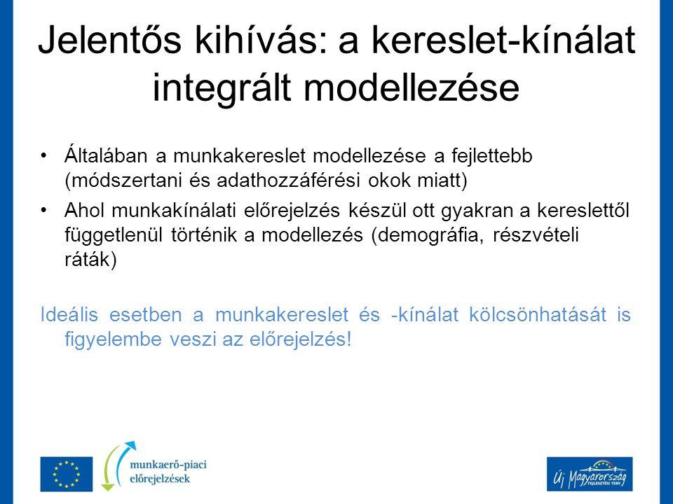 Jelentős kihívás: a kereslet-kínálat integrált modellezése Általában a munkakereslet modellezése a fejlettebb (módszertani és adathozzáférési okok miatt) Ahol munkakínálati előrejelzés készül ott gyakran a kereslettől függetlenül történik a modellezés (demográfia, részvételi ráták) Ideális esetben a munkakereslet és -kínálat kölcsönhatását is figyelembe veszi az előrejelzés!