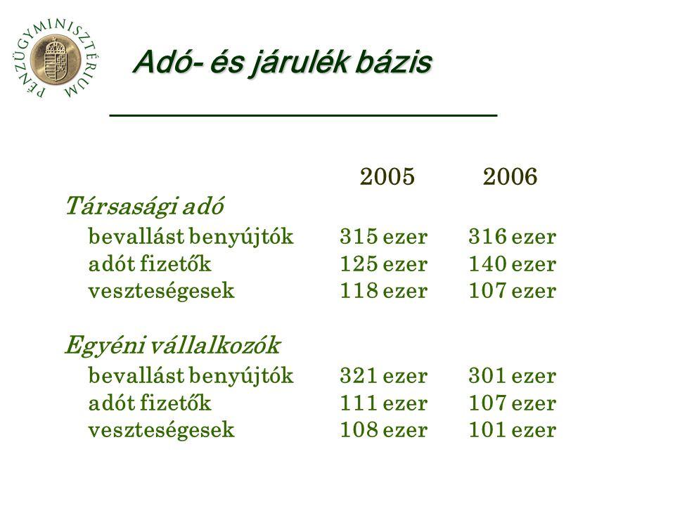 Adó- és járulék bázis 2005 2006 Társasági adó bevallást benyújtók 315 ezer 316 ezer adót fizetők 125 ezer 140 ezer veszteségesek 118 ezer 107 ezer Egy