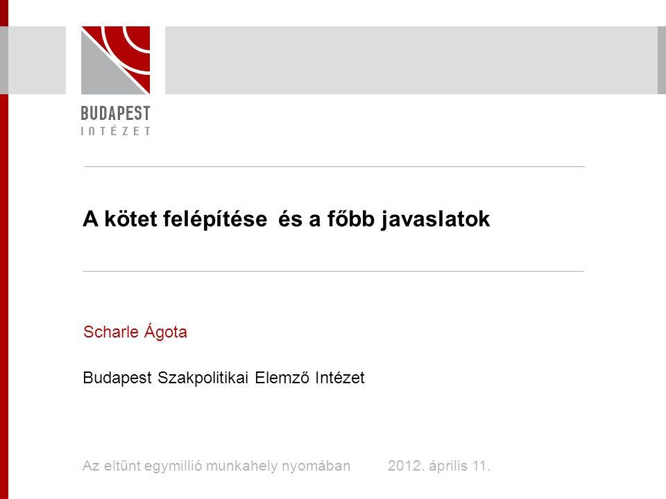 A kötet felépítése és a főbb javaslatok Scharle Ágota Budapest Szakpolitikai Elemző Intézet Az eltűnt egymillió munkahely nyomában 2012.