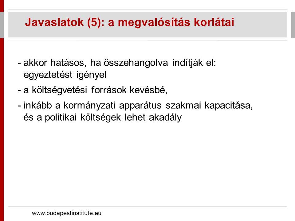 Javaslatok (5): a megvalósítás korlátai www.budapestinstitute.eu -akkor hatásos, ha összehangolva indítják el: egyeztetést igényel -a költségvetési fo