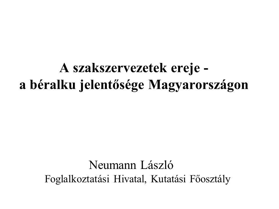 A szakszervezetek ereje - a béralku jelentősége Magyarországon Neumann László Foglalkoztatási Hivatal, Kutatási Főosztály