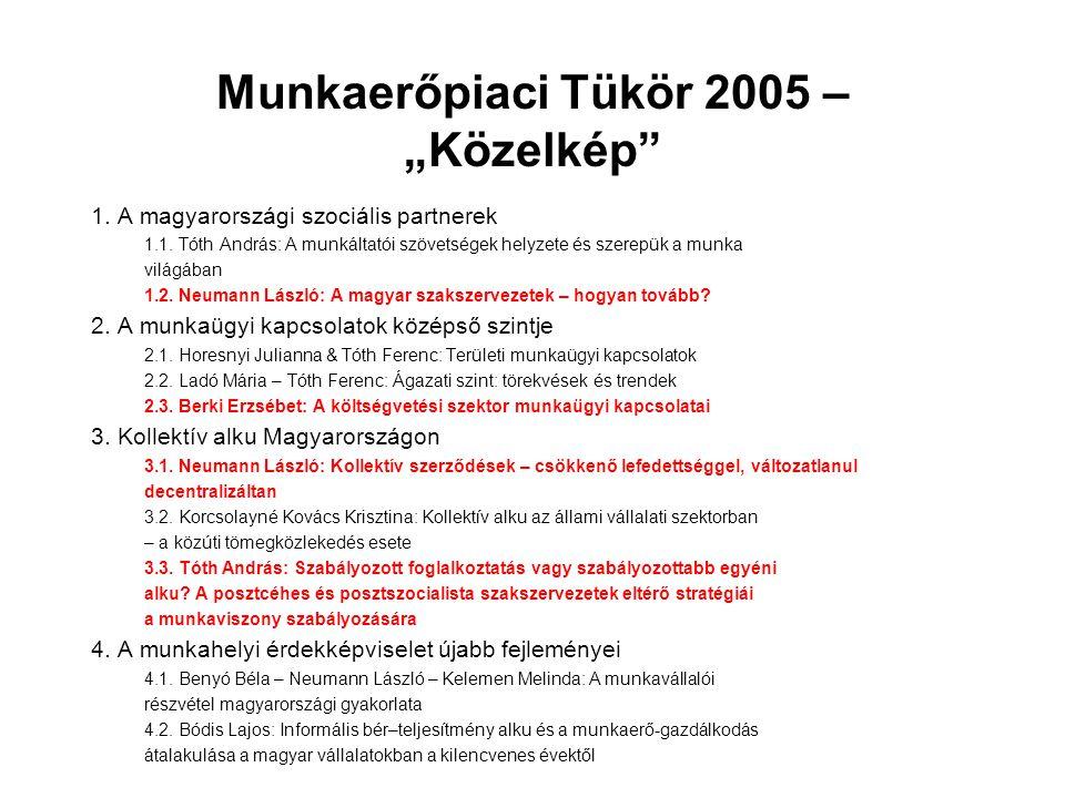 """Munkaerőpiaci Tükör 2005 – """"Közelkép"""" 1. A magyarországi szociális partnerek 1.1. Tóth András: A munkáltatói szövetségek helyzete és szerepük a munka"""