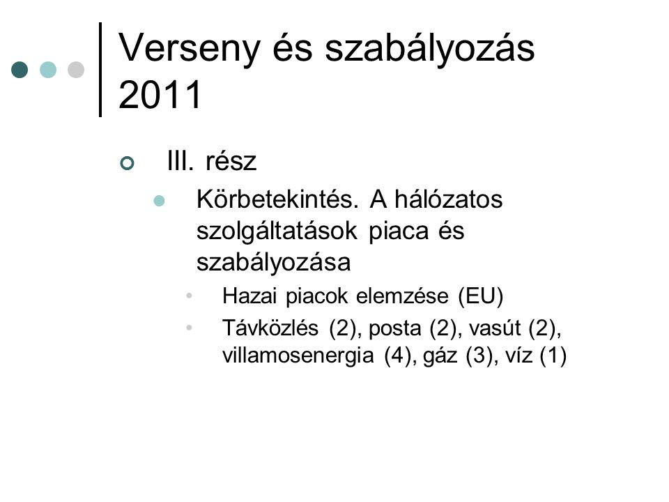 Verseny és szabályozás 2011 III. rész Körbetekintés. A hálózatos szolgáltatások piaca és szabályozása Hazai piacok elemzése (EU) Távközlés (2), posta