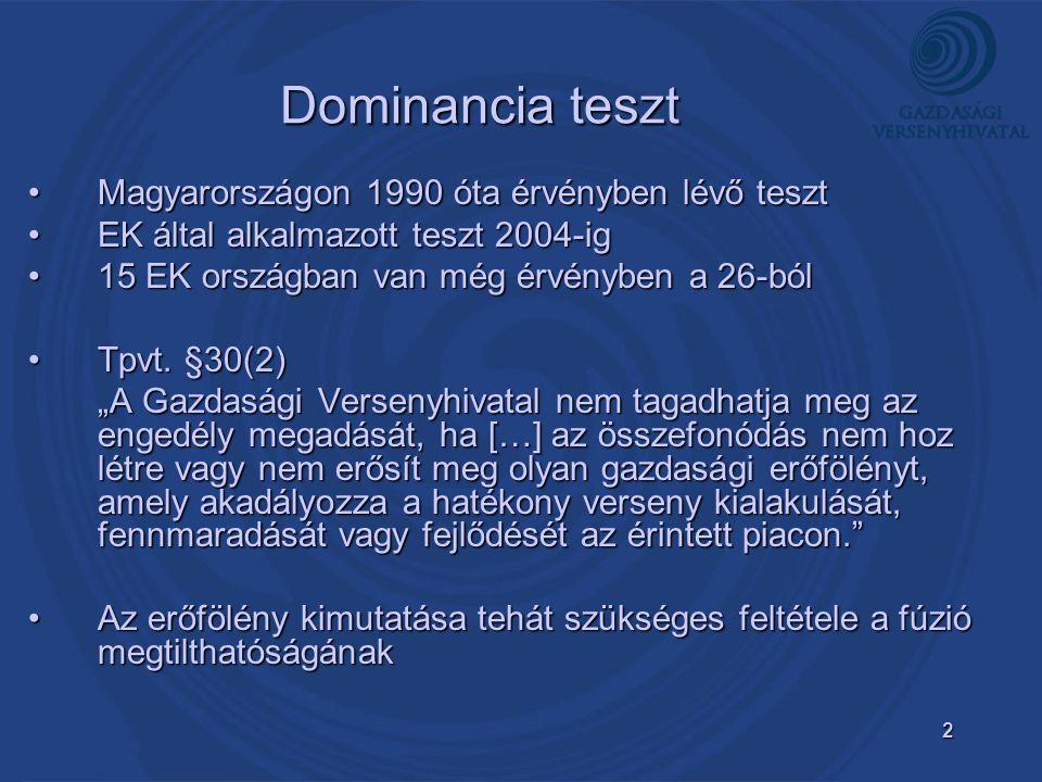 """3 Versenyhatás (SLC) teszt Angolszász országok által alkalmazott (USA, UK)Angolszász országok által alkalmazott (USA, UK) EK által alkalmazott teszt 2004 ótaEK által alkalmazott teszt 2004 óta A GVH kezdeményezte a Versenytörvény (Tpvt.) ez irányba történő módosítását, ezt a Kormány támogatta és a Parlament elé terjesztetteA GVH kezdeményezte a Versenytörvény (Tpvt.) ez irányba történő módosítását, ezt a Kormány támogatta és a Parlament elé terjesztette EC Merger Regulation [2004] §2(3)EC Merger Regulation [2004] §2(3) """"A közös piaccal nem egyeztethető össze az az összefonódás, amely jelentős mértékben akadályozza a hatékony versenyt a közös piacon […], különösen ha ez gazdasági erőfölény létesítése vagy erősödése miatt következik be. Az erőfölény itt már nem szükséges feltétel, csak egy esetAz erőfölény itt már nem szükséges feltétel, csak egy eset"""