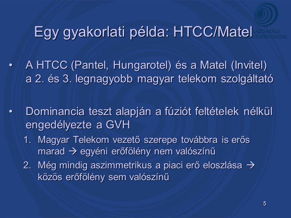 5 Egy gyakorlati példa: HTCC/Matel A HTCC (Pantel, Hungarotel) és a Matel (Invitel) a 2.