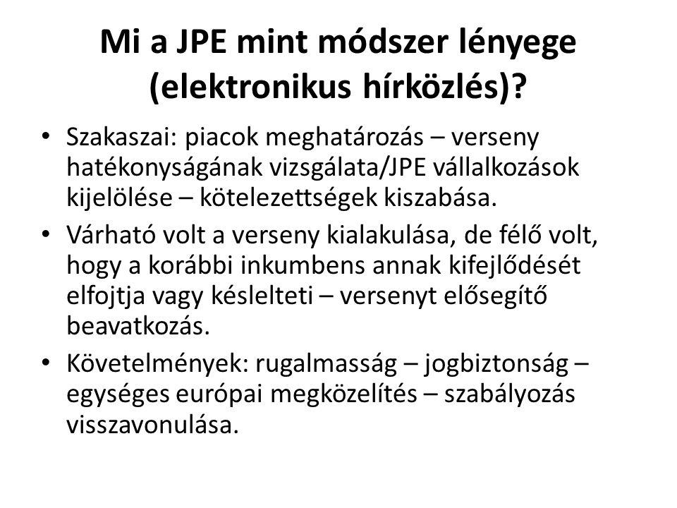 Mi a JPE mint módszer lényege (elektronikus hírközlés)? Szakaszai: piacok meghatározás – verseny hatékonyságának vizsgálata/JPE vállalkozások kijelölé