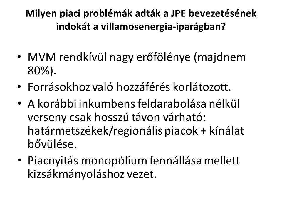 Milyen piaci problémák adták a JPE bevezetésének indokát a villamosenergia-iparágban? MVM rendkívül nagy erőfölénye (majdnem 80%). Forrásokhoz való ho