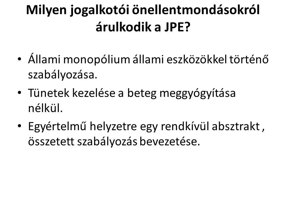 Milyen jogalkotói önellentmondásokról árulkodik a JPE? Állami monopólium állami eszközökkel történő szabályozása. Tünetek kezelése a beteg meggyógyítá