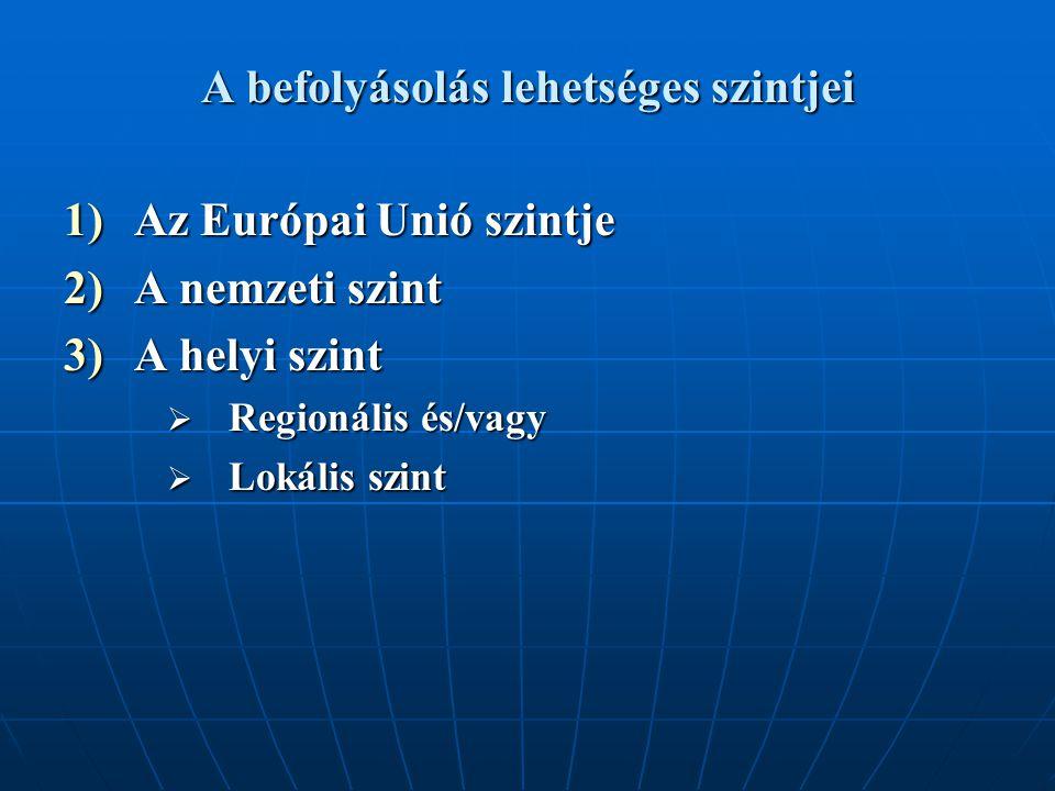 A befolyásolás lehetséges szintjei 1)Az Európai Unió szintje 2)A nemzeti szint 3)A helyi szint  Regionális és/vagy  Lokális szint