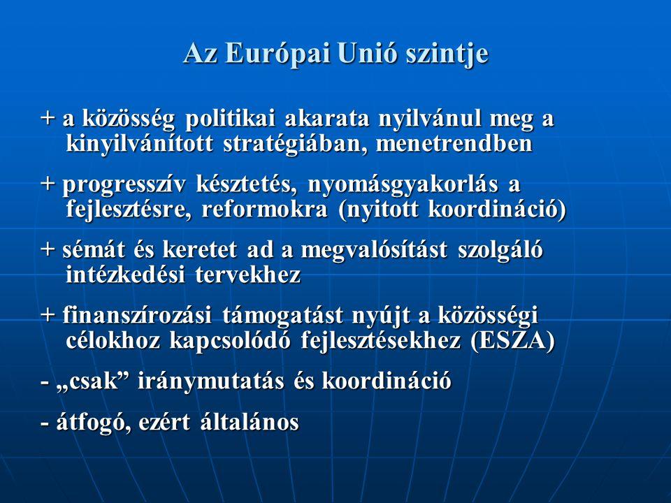 """Az Európai Unió szintje + a közösség politikai akarata nyilvánul meg a kinyilvánított stratégiában, menetrendben + progresszív késztetés, nyomásgyakorlás a fejlesztésre, reformokra (nyitott koordináció) + sémát és keretet ad a megvalósítást szolgáló intézkedési tervekhez + finanszírozási támogatást nyújt a közösségi célokhoz kapcsolódó fejlesztésekhez (ESZA) - """"csak iránymutatás és koordináció - átfogó, ezért általános"""