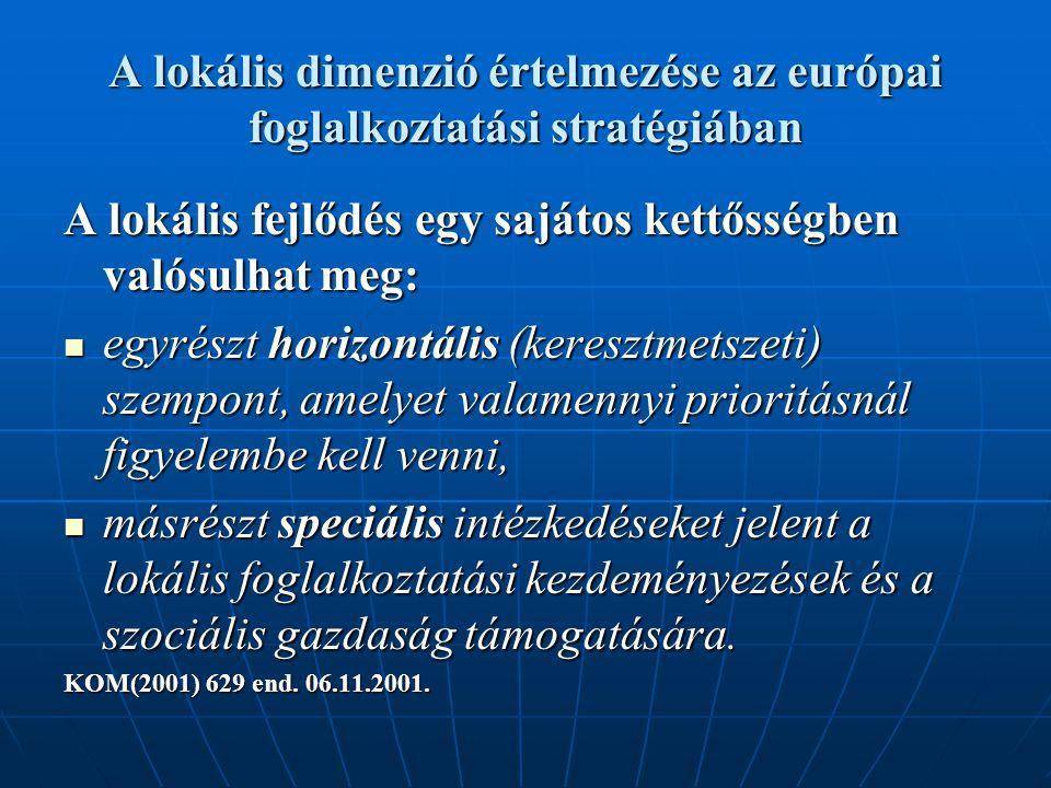 A lokális dimenzió értelmezése az európai foglalkoztatási stratégiában A lokális fejlődés egy sajátos kettősségben valósulhat meg: egyrészt horizontális (keresztmetszeti) szempont, amelyet valamennyi prioritásnál figyelembe kell venni, egyrészt horizontális (keresztmetszeti) szempont, amelyet valamennyi prioritásnál figyelembe kell venni, másrészt speciális intézkedéseket jelent a lokális foglalkoztatási kezdeményezések és a szociális gazdaság támogatására.