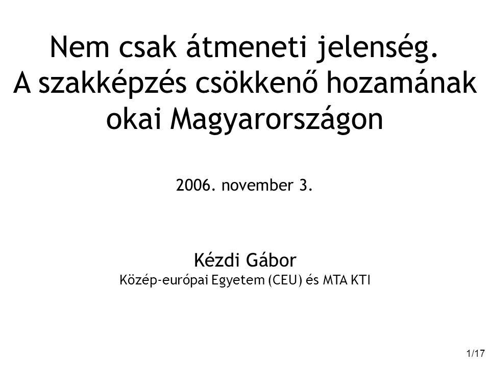 1/171/17 Nem csak átmeneti jelenség. A szakképzés csökkenő hozamának okai Magyarországon 2006.