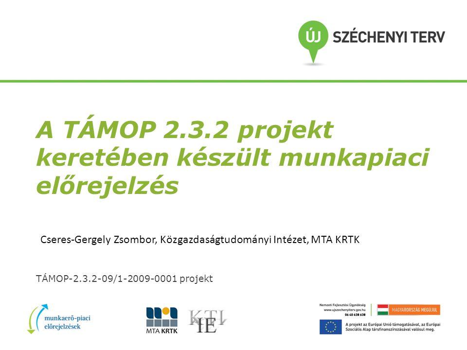 A TÁMOP 2.3.2 projekt keretében készült munkapiaci előrejelzés TÁMOP-2.3.2-09/1-2009-0001 projekt Cseres-Gergely Zsombor, Közgazdaságtudományi Intézet, MTA KRTK