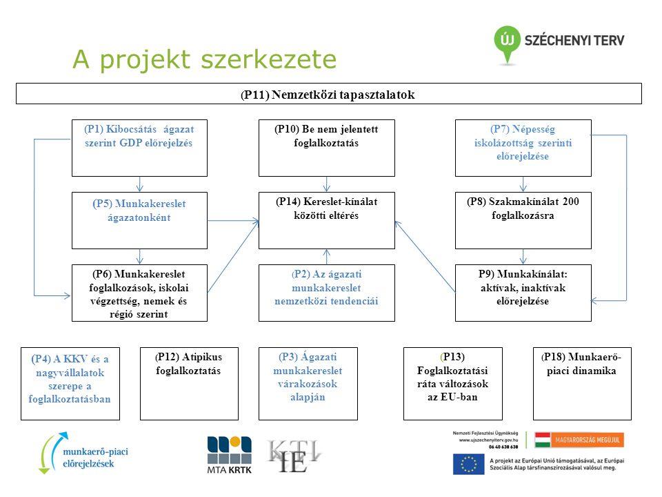 A projekt szerkezete ( P11) Nemzetközi tapasztalatok (P7) Népesség iskolázottság szerinti előrejelzése ( P4) A KKV és a nagyvállalatok szerepe a foglalkoztatásban (P10) Be nem jelentett foglalkoztatás (P14) Kereslet-kínálat közötti eltérés ( P2) Az ágazati munkakereslet nemzetközi tendenciái (P8) Szakmakínálat 200 foglalkozásra P9) Munkakínálat: aktívak, inaktívak előrejelzése (P1) Kibocsátás ágazat szerint GDP előrejelzés ( P5) Munkakereslet ágazatonként (P6) Munkakereslet foglalkozások, iskolai végzettség, nemek és régió szerint ( P12) Atipikus foglalkoztatás (P3) Ágazati munkakereslet várakozások alapján (P13) Foglalkoztatási ráta változások az EU-ban ( P18) Munkaerő- piaci dinamika