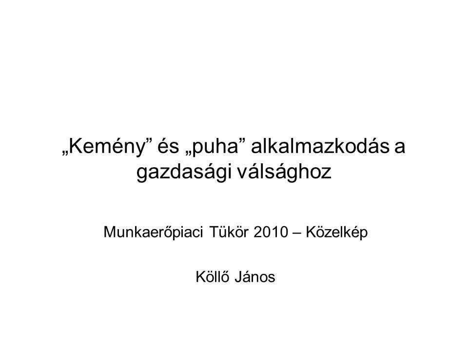 """""""Kemény és """"puha alkalmazkodás a gazdasági válsághoz Munkaerőpiaci Tükör 2010 – Közelkép Köllő János"""