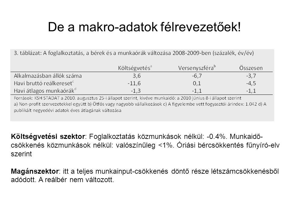 De a makro-adatok félrevezetőek. Költségvetési szektor: Foglalkoztatás közmunkások nélkül: -0.4%.