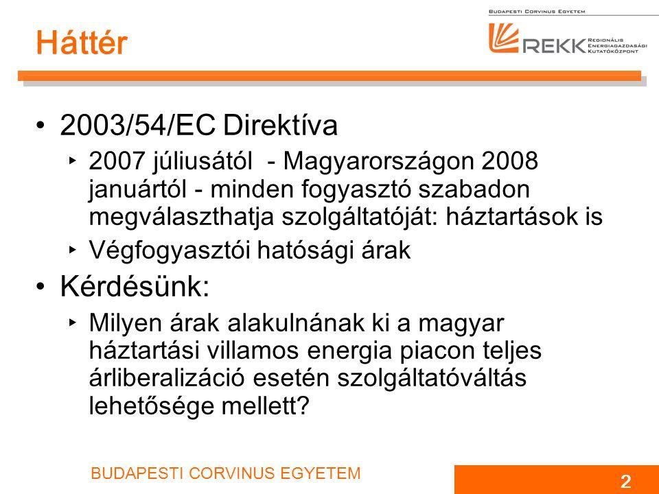 BUDAPESTI CORVINUS EGYETEM 3 Magyar háztartási villamos energia piac A teljes hazai villamos energia fogyasztás kb.
