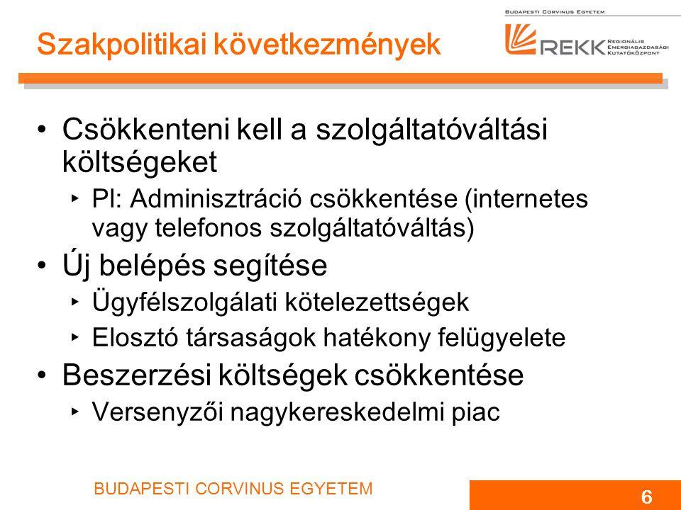 BUDAPESTI CORVINUS EGYETEM 6 Szakpolitikai következmények Csökkenteni kell a szolgáltatóváltási költségeket ‣Pl: Adminisztráció csökkentése (internete