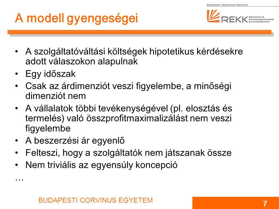BUDAPESTI CORVINUS EGYETEM 7 A modell gyengeségei A szolgáltatóváltási költségek hipotetikus kérdésekre adott válaszokon alapulnak Egy időszak Csak az